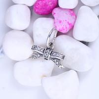 Wholesale Bow Charm Pandora - Sparkling Bow Pendant, Clear CZ Silver Charm Fit Pandora Bracelets Bangles Factory Wholesale