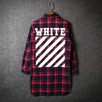 Wholesale Women Red White Plaid Shirt - Men long sleeve plaid flannel shirt bigbang off white blouse women harajuku casual slim fit dress shirts camisa masculina