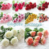 Dekor Rose Künstliche Blumen Seide Blumen Floral Latex Real Touch Rose Hochzeit Bouquet Home Party Design Blumen