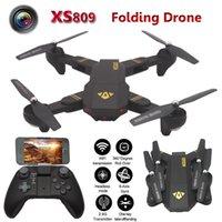Wholesale Key Camera 16 - New XS809W Mini Foldable Drone HD 2MP camera Wifi FPV G-sensor One key return RTF Selfie Drone Altitude Hold Mode Quadcopter Helicopter toys