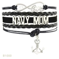 (10 Stück / Los) Infinity Love Navy Mom Anchor Schwester Anchor Charm Armband Weiß Navy Blau Schwarz Wildleder Wickel Armband Any Theme