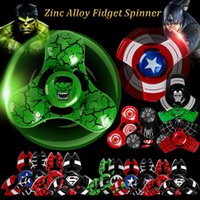 Wholesale Iron Man Retail Box - Metal Fidget Spinner Captain America Hand Spinner Spider Man Iron Man Finger Gyro For Decompression Toy Anxiety with Retail box