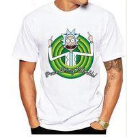 Wholesale Cool Cartoon Shirts - Cool Rick Morty men t shirt 2016 Summer Anime T-shirts Peace among worlds folk White Fitness Cartoon tee shirt homme