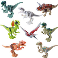 Wholesale Mini Dinosaur Toys - 8pcs lot Jurassic Dinosaur Figures Model Bricks Mini Figures Building Blocks Dinosaur Models Children Kids Toys Compatible 170313