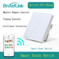 Wholesale Wireless Remote Control Light Switches - Wholesale-BroadLink EU Standard 2 Gang Wifi Switch, Remote Control Wireless Switch,Touch Panel Light Switch Via Broadlink Rm Pro