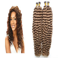 Wholesale light brown fusion hair extensions resale online - Medium Brown keratin hair extension g strands curly fusion hair extensions I Tip Extensions s Deep Curly hair capsules