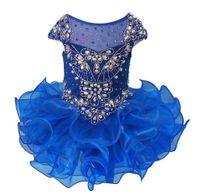 ingrosso gonne di tutu blu royal-Royal Blue Cap Sleeve Pageant Cupcake Abiti infantili Occasioni speciali Crystal Tutu Skirt Short Pageant Gowns