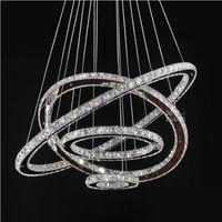 anillos estilo moderno al por mayor-Lámparas LED Crystal Round Rings Accesorios de iluminación Modern Silver Dinning Room Lámparas colgantes DIY Style Tri-tone light