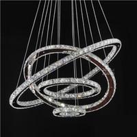 ingrosso anelli di stile moderno-Lampadari a LED Cristallo Anelli tondi Apparecchi di illuminazione Moderna Sala da pranzo in argento Lampade a sospensione Lampada da soffitto in stile Tri-tone