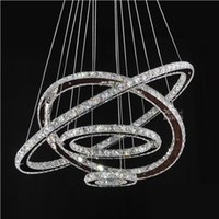 Wholesale Diy Crystal Knobs - LED Chandeliers Crystal Round Rings Lighting Fixtures Modern Silver Dinning Room Hanging Lamps DIY Style Tri-tone light