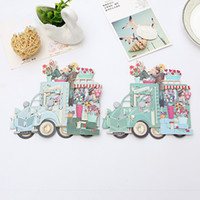 Wholesale thank 3d - 3D Pop Up Postcards Paper Flowers With Cars Greeting Cards Thank You Card Birthday Party Articles 5 8qh C R