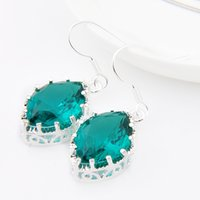Wholesale Earring Variety - Luckyshine Two pieces lot 925 silver plated A variety of colors Simple Design Green Quartz crystal earrings for lady party gift E0260