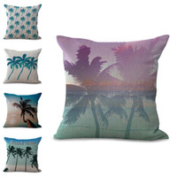 Wholesale Coconut Palms - Summer Beach Coconut Palm Tree Pillow Case Cushion Cover Linen Cotton Throw Pillowcases Sofa Car Decorative Pillowcover Drop Shipping PW690