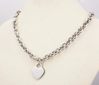 Wholesale Necklace Large Pendant - 10mm width stainless steel metal silver chain link necklace for women large heart pendant charm 2.9cm*2.4cm heart blank tags