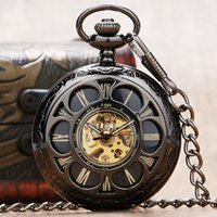Wholesale Mechanical Old Pocket Watches - Wholesale-Old Pattern Retro Hollow Flower Cover Pocket Watch Mechanical Women Watches Gift for Men Women