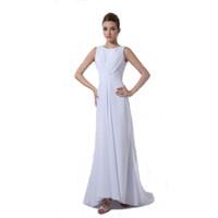 westliche spalte brautkleider großhandel-Neue Art-Weiß-Chiffon- Hochzeits-Kleid-Hüllen-Entwurfs-Juwel-Ausschnitt-langes formales Brautkleid-freies Verschiffen