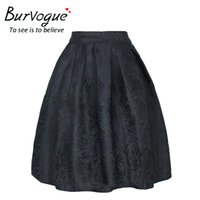 Wholesale Women Victorian Skirt - Burvogue Women Vintage Steampunk Skirt Jacquard Flared Pleated High Waist Swing Zipper Gothic Victorian Party Skirt