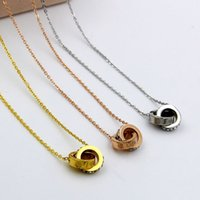 Wholesale Rose Gold Star Necklace - Jewelry luxury edition Star Diamond Necklace female screw drill small double rose gold necklace.