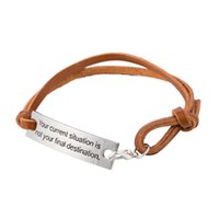Wholesale Wholesale Situation - Lastest Design Inspirational Your Current Situation Is Not Your Final Destination Charm Leather Bracelet For Women Fashion Jewelry