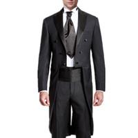 chaqueta de esmoquin colas negro al por mayor-Trajes de boda para hombre abrigo de cola de golondrina trajes de fiesta trajes de boda de moda para hombre, trajes de boda para hombre, diseños más recientes, los novios trajes de etiqueta (chaqueta + pantalones)