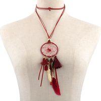 Wholesale Dream Catcher Necklace Charms Wholesale - Retro Dreamcatcher Necklace With Feathers And Tassel Hand-Woven Dream Catcher Bears Tassel Long Sweater Chain Necklace