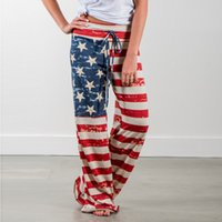 Wholesale Baggy Star Pants - Women Summer Drawstring Yoga Strappy Wide Leg Dancing Loose Casual American US Flag Long Pants Baggy Star Stripes Trousers