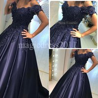 Wholesale Elegant Vintage Lace Evening Dress - 2016 Elegant Navy Blue Satin Ball Gown Arabic Evening Prom Dresses Off-Shoulder Heavily Embellishment Major Beaded Celebrity Formal Gowns