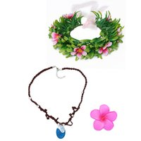 Wholesale Plastic Flower Necklace - Moana Necklace Flower Headwear Princess Floral Hoop Garland Chain Moana Cosplay Accessories Bride Wedding Headdress Free Shipping