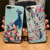 Cartoon Peacock 3D Relief Flowers Phone Case para iPhone 6 6S 7 Plus Floral Soft TPU Back Cover para iPhone 7 6plus 5s