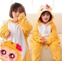 Wholesale Monkey Kigurumi - Yellow White Monkey Kigurumi Pajamas Baby Animal Suits Cosplay Outfit Child Halloween Costume Garment Cartoon Jumpsuits Unisex Sleepwear