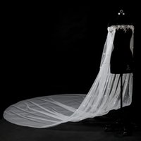 Wholesale Long Sleeve Tulle Bolero - Romantic White Lace Cloaks Mantle Wedding Fashion Wedding Accessories With Sleeves 5 Meters Long Small Flowers Bridal Bolero