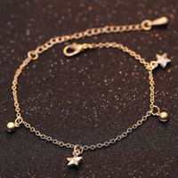 Foot Anklet Star Charm Sandales pieds nus Gold Anklet Beach Foot Jewelry Hot Sale Body Chain Jewelry Vente en gros Bracelet cheville pour femmes