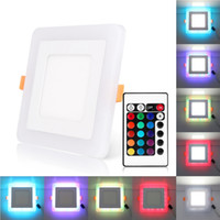 Discount led square panels rgb - Edison2011 AC110 220V Embedded Square 6W 9W 18W 24W Dual Color Led Panel Light White+Blue Red RGB Concealed Panel Lamp