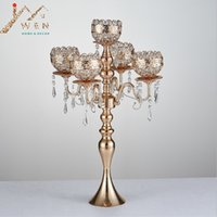 Wholesale Tall Crystal Stands - 63 cm Tall 5-arms Metal Gold Candelabras With Pendants Romantic Wedding Table Candle Holder Home Decoration 10 pcs lot