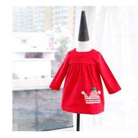 Wholesale Princess Pompon Dress - Christmas Baby Clothes 2017 New Autumn pompon Crown Girls Princess Dress Cute Long Sleeve Boutique Kids Tops C1542