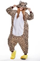 Wholesale Bear Suit Halloween Costume - Leopard Bear Kigurumi Pajamas Animal Suits Cosplay Outfit Halloween Costume Adult Garment Cartoon Jumpsuits Unisex Animal Sleepwear