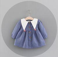 Wholesale Girls Simple Cotton Dresses - 2017 NEW Ins Euro Fashion Girl Lolita Dress triangle collar long sleeve full dot print dress Autumn winter girl dress elegant simple style