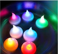 decoraciones de la fiesta del té al por mayor-Tealight Tea Candles Impermeable Navidad flotante sin llama LED luz bombilla para boda fiesta de cumpleaños decoración del hogar