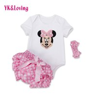 Wholesale Minnie Mouse Rompers - Wholesale- Polka Dot baby Rompers Outfits Sets 2016 Summer Style Cotton Minnie Mouse Jumpsuit Ruffles Bloomer Newborn Baby Girl Clothes