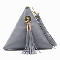 Wholesale Tas Pu Leather - Wholesale- Mini Tassel Clutch Black Leather Bag Designer Purse Famous Brand Women Fringe Handbag Evening Bags Bolsa Feminina tas F40-560