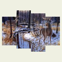 Wholesale textured oil paintings for sale - No frame Deer three series HD Canvas print Wall Art Oil Painting Textured Abstract Pictures Decor Living Room Decoration