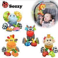 Wholesale Baby Soft Sounds - Sozzy Baby Vibrated Plush Animal Lion Toy Rattle Crinkle Sound 18cm Soft Stuffed Multicolor Multifunction Toy
