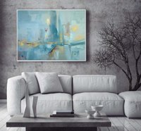 Wholesale Famous Artists Abstract - Abstract modern canvas wall handmade contemporary famous artist blue seascape oil painting on canvas for living room decoration