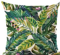 Wholesale Bird Pillows - Green Tropical Plant Leave Birds Pillow Cover Colorful Flower Cushion Cover Car Sofa Home Decoration