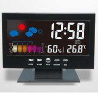 station base großhandel-100pcs von dhl fedex Digital Thermometer Hygrometer Uhr Kalender Kalender Station Station Voice Control Hintergrundbeleuchtung mit Base