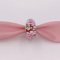 garten armband großhandel-Authentische 925 Sterling Silber Perlen Blumengarten Murano Charm Charms für europäische Pandora Style Schmuck Armbänder Halskette Murano 791652