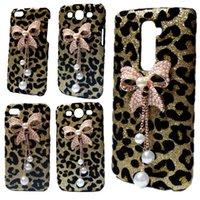 Wholesale Iphone Cases Bows - 3D Bling Gold Leopard Pearls Rhinestones Bow Hard Back Case Cover for iPhone 5 5S 6 6S 6S Plus LG G2 G3 G5 K7 G Stylo G4 Stylus G4 Note