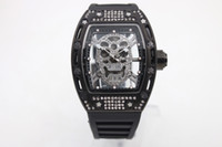Wholesale Transparent Calendar - Skull Tourbillon tonneau mens wristwatch 43mm diamond skeleton quartz watch watches transparent sapphire glass back No 09