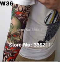 Wholesale Tattoo Sleeve Stencils - atoo stencil 100pcs Free shipping elastic 100%nylon Fake temporary tattoo sleeve pattern body Arm stockings tatoo men women 2016new whole...