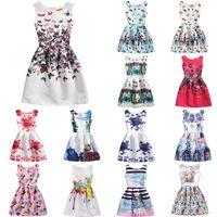koreanische formale kleidart großhandel-Korean Style Floral Mädchenkleider ärmellose knielangen Kleider 6-9Years Altes Mädchen Formelle Partykleider 16122101